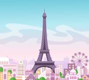 Wektorowa ilustracja piękny linii horyzontu miasta widok z budynkami i drzewami w pastelowych kolorach Symbol Paryż w mieszkaniu royalty ilustracja