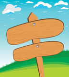 Wektorowa ilustracja piękna wiejska scena i drewniany znak Drewniana tekstura na góry i nieba tle Fotografia Royalty Free