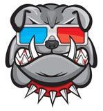 Pies z 3d szkłami Fotografia Stock