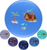 Wektorowa ilustracja plaży i wyspy tła dla podróży reklamy Zdjęcia Royalty Free
