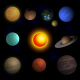 Wektorowa ilustracja planetuje układ słonecznego Zdjęcia Royalty Free