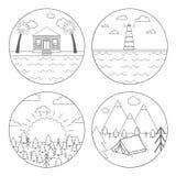 Wektorowa ilustracja plenerowej aktywności symbol dla obozowiczy, wycieczkuje Set cztery okregów logo w kreskowym stylu lub ikona ilustracja wektor