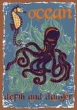 Wektorowa ilustracja podwodny świat Rocznik ilustracja wektor