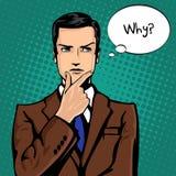 Wektorowa ilustracja pomyślny biznesmen myśleć w rocznika wystrzału sztuki komiczek stylu Podobieństwa i pozytywny odczucie gest royalty ilustracja