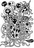 Wektorowa ilustracja potwory i śliczny obcy życzliwy, chłodno, royalty ilustracja