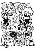 Wektorowa ilustracja potwory i śliczny obcy życzliwy, chłodno, c ilustracja wektor