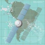 Wektorowa ilustracja przedstawia teletechniczną satelitę Zdjęcie Stock