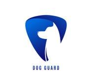 Wektorowa ilustracja psa strażnik z doggy głową w negatywnej błękit przestrzeni royalty ilustracja