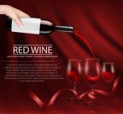 Wektorowa ilustracja ręka trzyma szklaną wino butelkę i nalewa czerwone wino w szkło Obrazy Royalty Free