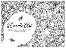 Wektorowa ilustracja, rama z szkolnymi dostawami Popiera Doodle rysunek Medytacyjny ćwiczenie Kolorystyki książka anta Fotografia Royalty Free
