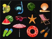 Wektorowa ilustracja Realistyczne wakacje letni nadmorski plaży ikony ustawia odosobnionego na czarnym tle ilustracja wektor