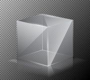 Wektorowa ilustracja realistyczny, przejrzysty, szklany sześcian na szarym tle, Zdjęcie Stock