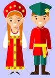Wektorowa ilustracja rosyjscy dzieci, chłopiec, dziewczyna, ludzie Zdjęcie Royalty Free