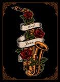 Wektorowa ilustracja saksofon z różami i faborkiem royalty ilustracja