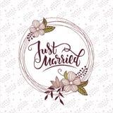 Wektorowa ilustracja save daktylowy tekst z tłem i kwieciści elementy dla wedding/party/urodziny Save daktylowego card/ta Obraz Royalty Free
