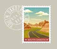 Wektorowa ilustracja sceniczni badlands, Południowy Dakota ilustracja wektor