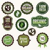 Set świeża żywność odznaki organicznie i rolne labe i Obrazy Royalty Free