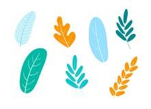 Wektorowa ilustracja, set abstrakcjonistyczne rośliny ilustracji