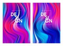 Wektorowa ilustracja: Set dwa nowożytnego kolorowego spływowego plakata Abstrakta kręcony falisty ciekły tło Modny sztuka projekt ilustracji