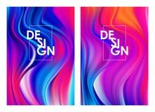 Wektorowa ilustracja: Set dwa nowożytnego kolorowego spływowego plakata Abstrakta kręcony falisty ciekły tło Sztuka projekt royalty ilustracja