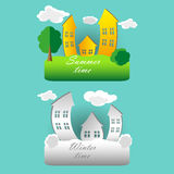 Wektorowa ilustracja, set kreskówka domy w lecie i zima, Zdjęcie Stock