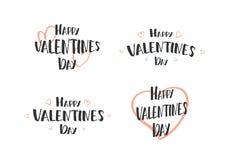 Wektorowa ilustracja: Set ręki rysować literowanie wycena Szczęśliwy walentynki ` s dzień z doodle sercami Gretting karty Obrazy Royalty Free