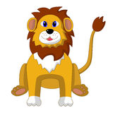 Wektorowa ilustracja siedzący kreskówka lew Zdjęcie Stock