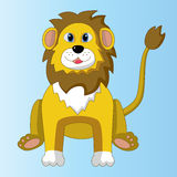 Wektorowa ilustracja siedzący kreskówka lew Zdjęcia Royalty Free