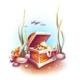 Wektorowa ilustracja skarb klatka piersiowa w oceanie Zdjęcie Royalty Free
