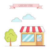 Wektorowa ilustracja sklep spożywczy z drzewem ilustracja wektor