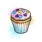 Wektorowa ilustracja słodka bułeczka Obrazy Royalty Free
