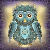 Wektorowa ilustracja sowa i ornamentacyjny tło Fotografia Royalty Free