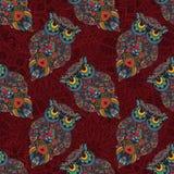 Wektorowa ilustracja sowa Ptak ilustrujący w plemiennym Sowa z kwiatami na ciemnym tle Zdjęcie Royalty Free