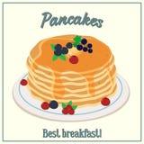 Wektorowa ilustracja sterta bliny Piec z miodem, masłem i jagodami na talerzu, śniadaniowy kawowy pojęcia filiżanki jajko smażący ilustracji