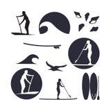 Wektorowa ilustracja stoi up paddling sylwetki ikonę ustawiającą wewnątrz Zdjęcie Stock