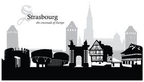 Wektorowa ilustracja Strasburska pejzaż miejski linia horyzontu Zdjęcie Stock