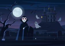 Wektorowa ilustracja straszny wampir i duchy lata przy kasztelem przy nocą karciany Halloween royalty ilustracja
