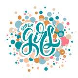 Wektorowa ilustracja Super dziewczyna tekst ilustracji