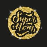 Wektorowa ilustracja Super mama tekst dla karty, odziewa Odznaki etykietki ikona Inspiracyjny wycena karty zaproszenia sztandar R obraz royalty free