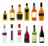 Wektorowa ilustracja sylwetka alkoholu butelka Obrazy Stock