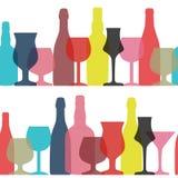 Wektorowa ilustracja sylwetka alkoholu butelka Bezszwowa Tupocze Fotografia Stock