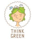 Wektorowa ilustracja symbol myśli zieleni plakat ilustracja wektor