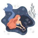Wektorowa ilustracja syrenka w miłości na dnie morskim z długie włosy royalty ilustracja