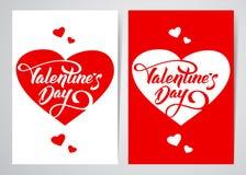 Wektorowa ilustracja: Szablon dwa plakatowy lub kartka z pozdrowieniami z ręki literowaniem walentynki ` s serca i dzień Obrazy Stock