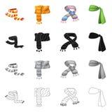 Wektorowa ilustracja szalika i chusty ikona Set szalika i akcesorium akcyjna wektorowa ilustracja ilustracja wektor