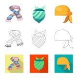 Wektorowa ilustracja szalika i chusty ikona Set szalika i akcesorium akcyjna wektorowa ilustracja royalty ilustracja