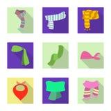 Wektorowa ilustracja szalika i chusty logo Kolekcja szalika i akcesorium akcyjna wektorowa ilustracja ilustracja wektor