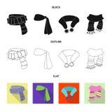 Wektorowa ilustracja szalika i chusty znak Set szalika i akcesorium akcyjna wektorowa ilustracja ilustracji