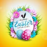 Wektorowa ilustracja Szczęśliwy Wielkanocny wakacje z Malującego i wiosny kwiatem na Błyszczącym Żółtym tle international ilustracji