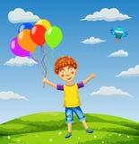 Wektorowa ilustracja szczęśliwa chłopiec z balonami na łące Obrazy Stock